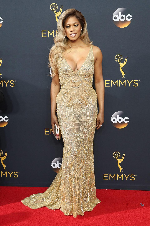 Laverne Cox en la alfombra roja de los Emmy 2016