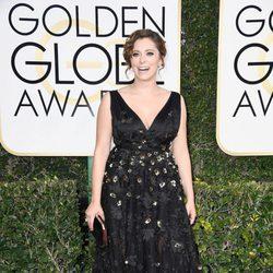 Rachel Bloom en la alfombra roja de los Globos de Oro 2017