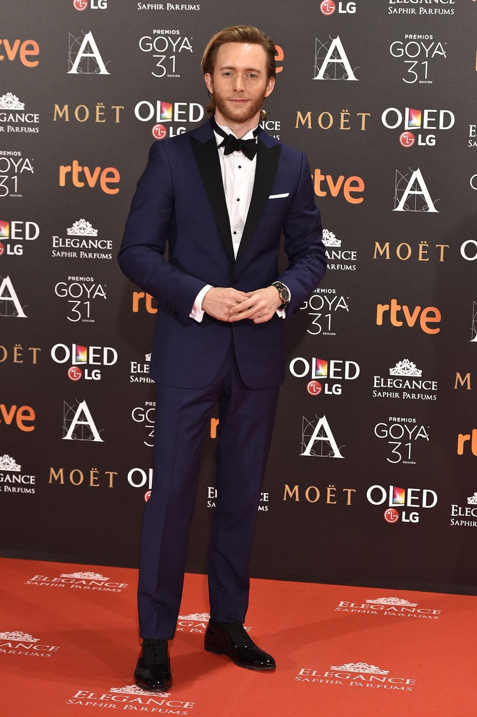 Pablo Rivero, actor de 'Cuéntame cómo pasó, en la alfombra roja de los Premios Goya 2017