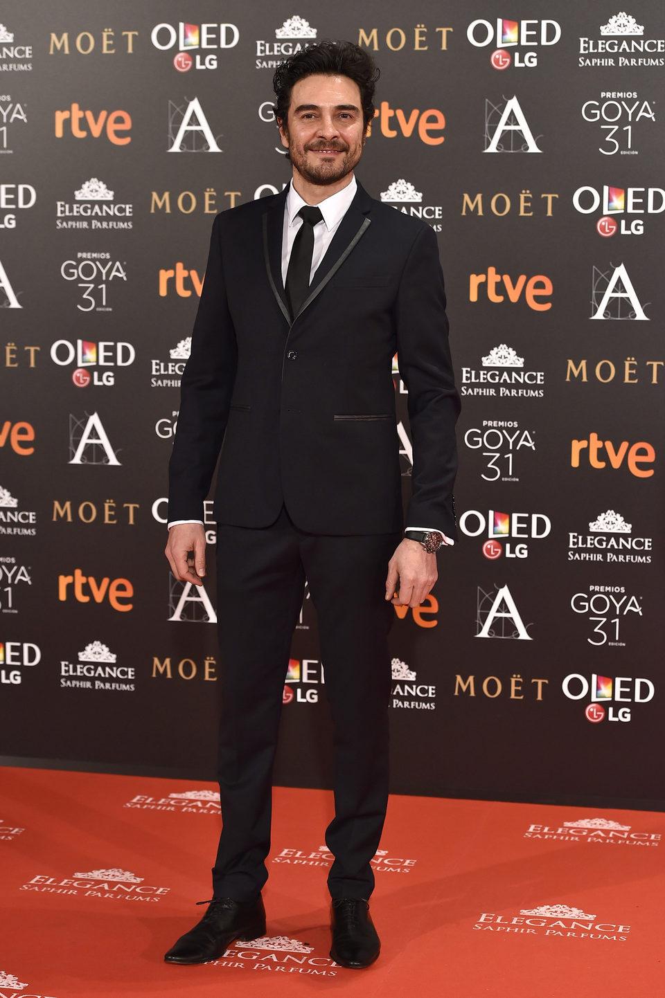 El actorJosé Manuel Seda en la alfombra roja de los Premios Goya 2017