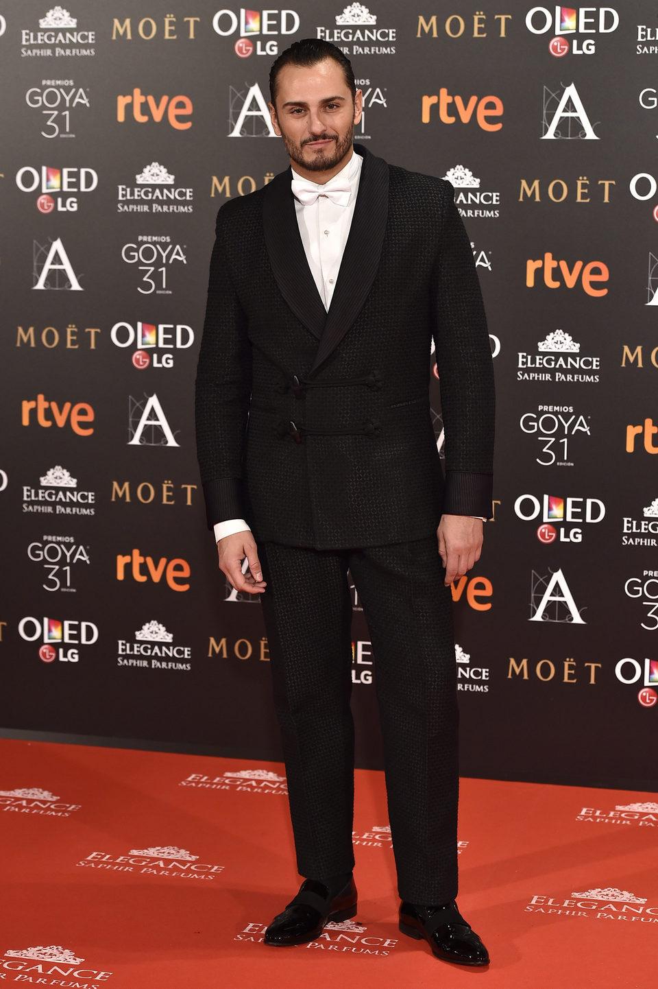 El actor Asier Etxeandia en la alfombra roja de los premios Goya 2017