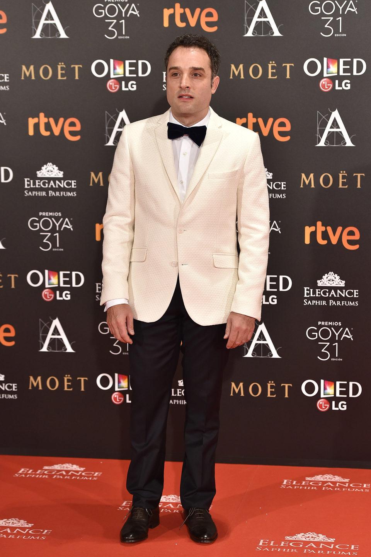 El director Daniel Guzmán en  la alfombra roja de los Premios Goya 2017