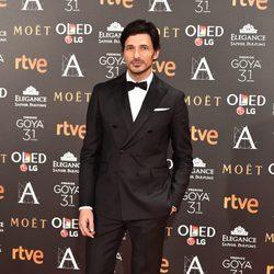 El modelo Andrés Velencoso en  la alfombra roja de los Premios Goya 2017