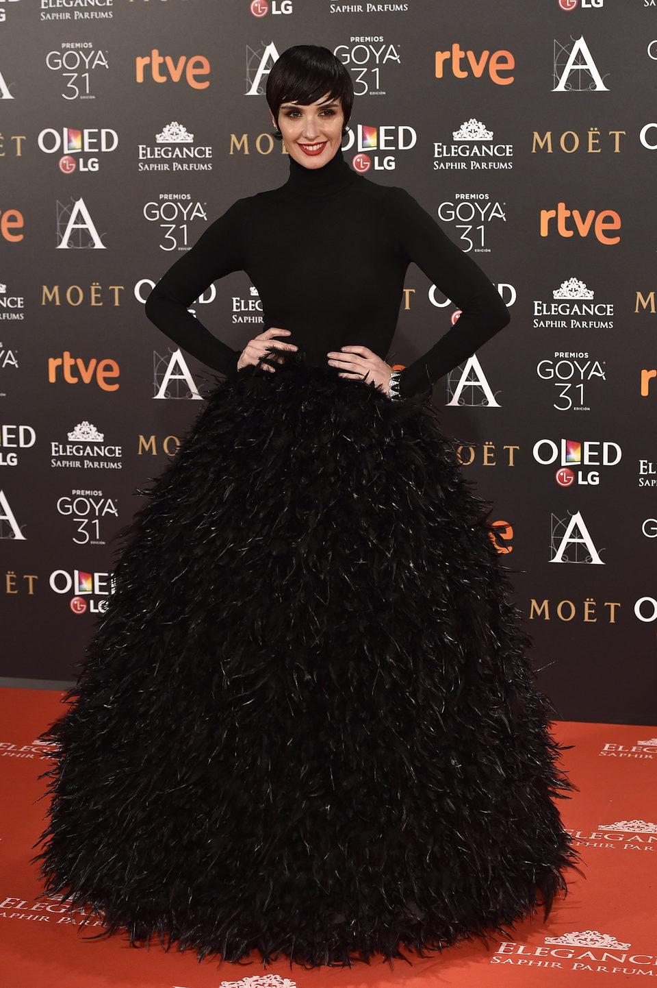 Paz Vega en la alfombra roja de los Premios Goya 2017