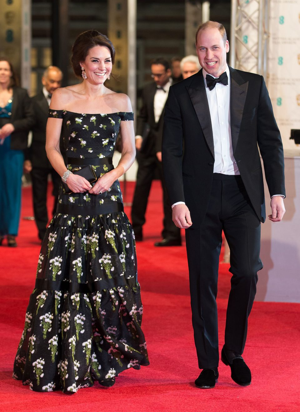 Catalina y Guillermo de Inglaterra en la alfombra roja de los BAFTA 2017