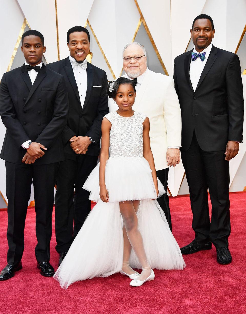 Jovan Adepo, Russell Hornsby, Saniyya Sidney, Stephen Henderson y Mykelti Williamson en la alfombra roja de los Oscar 2017