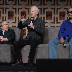 Warwick Davis, Anthony Daniels y Billy Dee Williams en la Star Wars Celebration