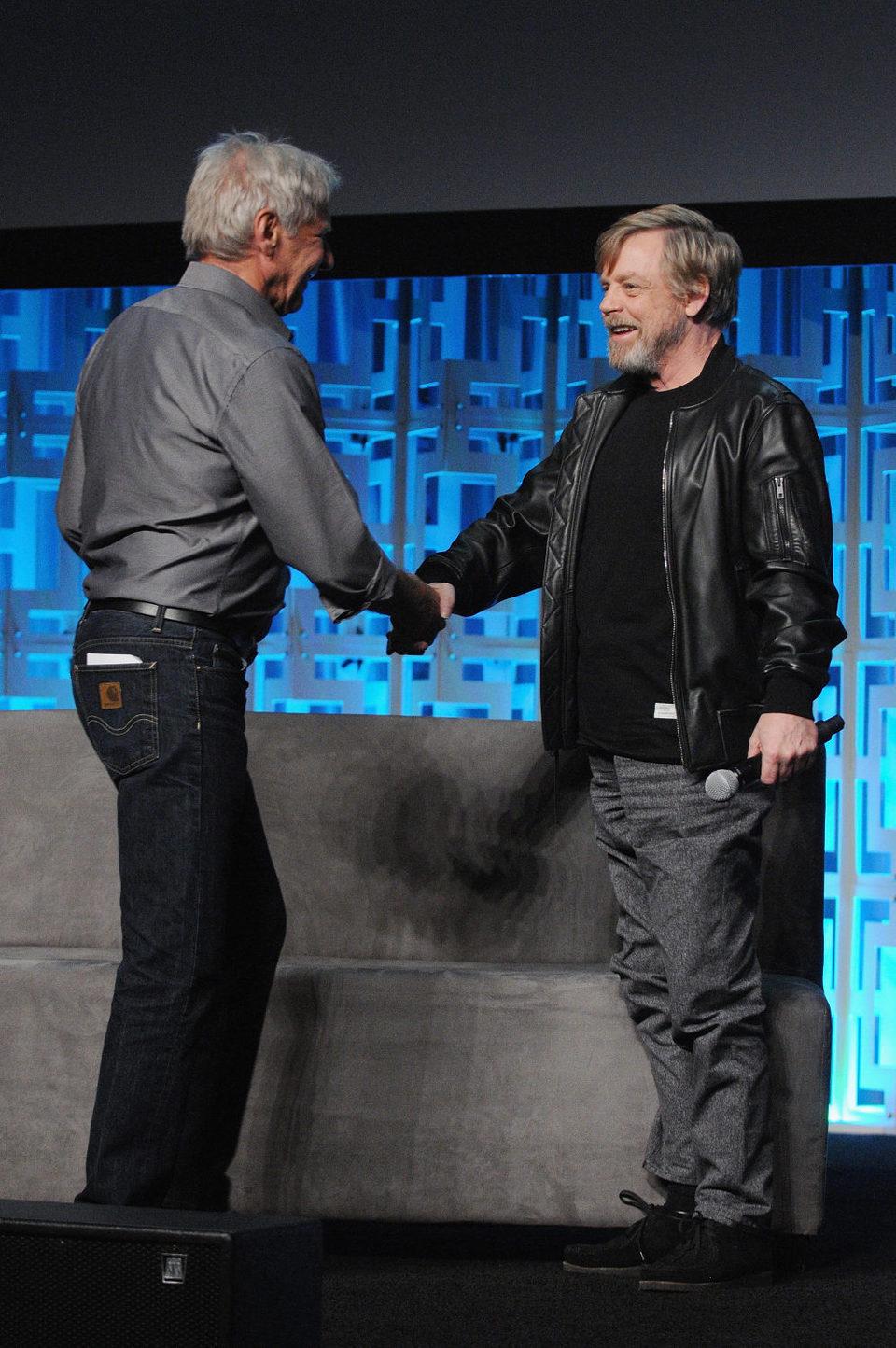 Mark Hamill y Harrison Ford en la Star Wars Celebration