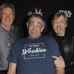 Harrison Ford, Peter Mayhew y Mark Hamill en la Star Wars Celebration,