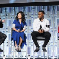 Daisy Ridley, Kelly Marie Tran, Mark Hamill and John Boyega at the panel of 'The last Jedi' in the Star Wars Celebration
