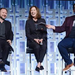 Ryan Johnson, Kathleen Kennedy y Josh Gad, en el panel de 'Los últimos Jedi' en la Star Wars Celebration