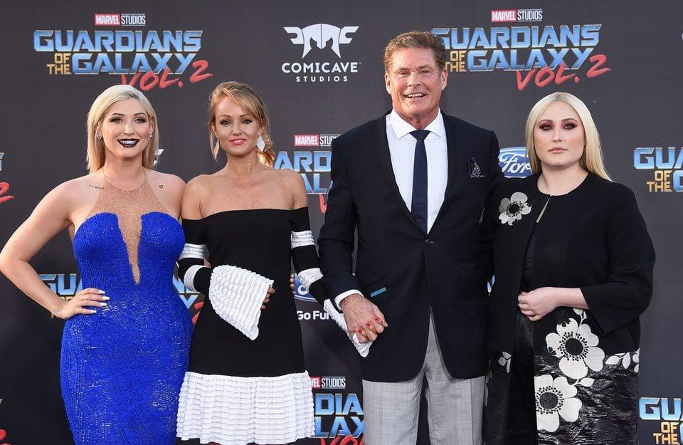 David Hasselhoff, Hayley Roberts, Hayley Hasselhoff y Taylor Hasselhoff en la premiere mundial de 'Guardianes de la galaxia Vol. 2'