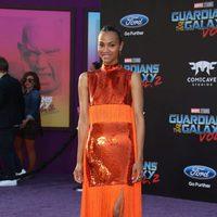 Zoe Saldana en la premiere mundial de 'Guardianes de la galaxia Vol. 2'