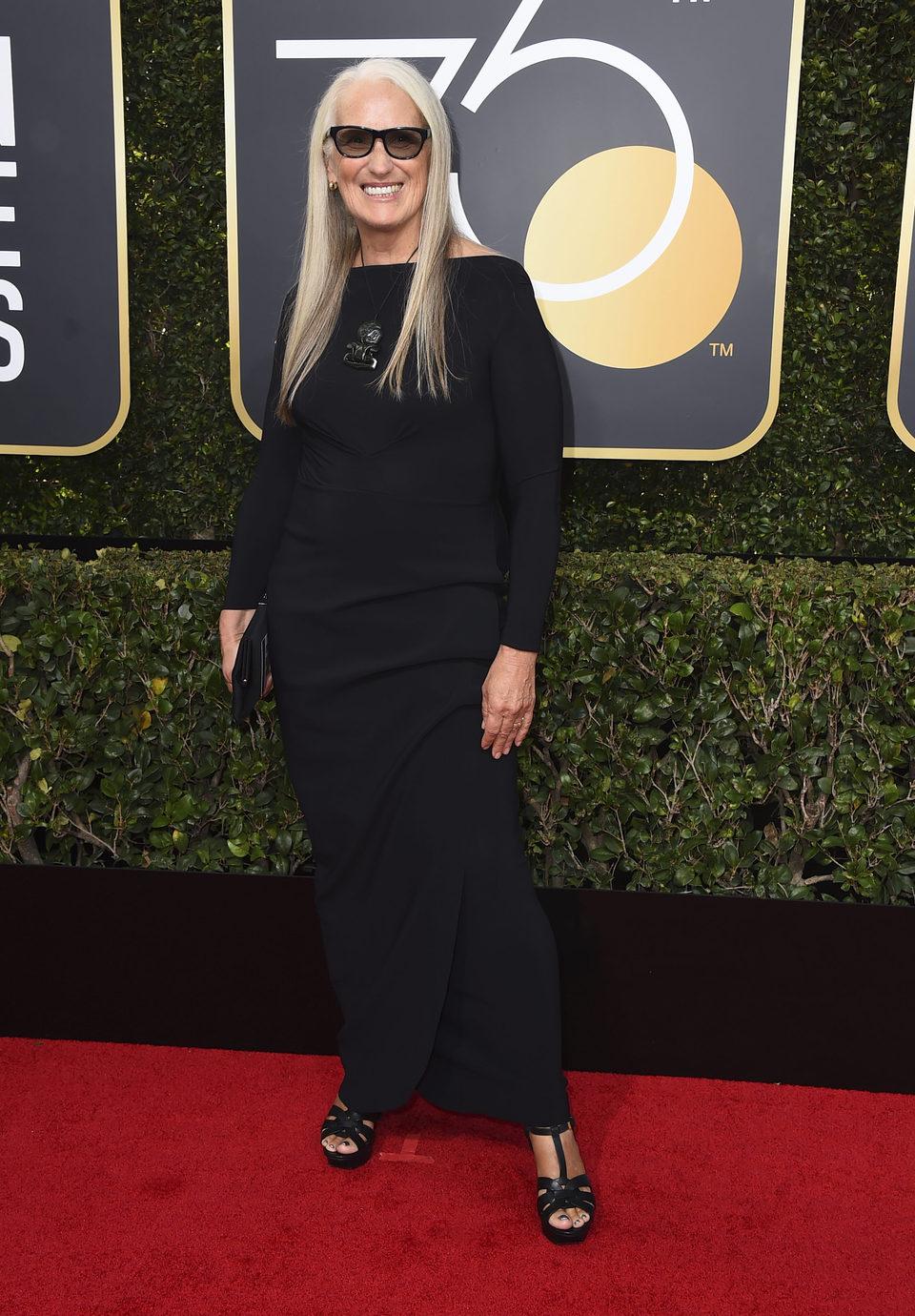 Jane Campion en la alfombra roja de los Globos de Oro 2018