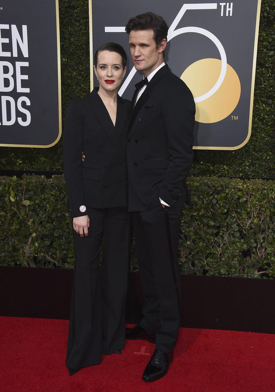 Claire Foy y Matt Smith en la alfombra roja de los Globos de Oro 2018
