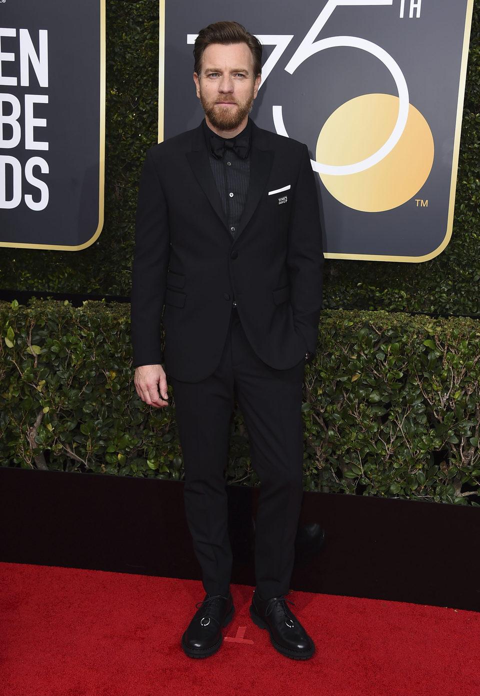 Ewan McGregor en la alfombra roja de los Globos de Oro 2018
