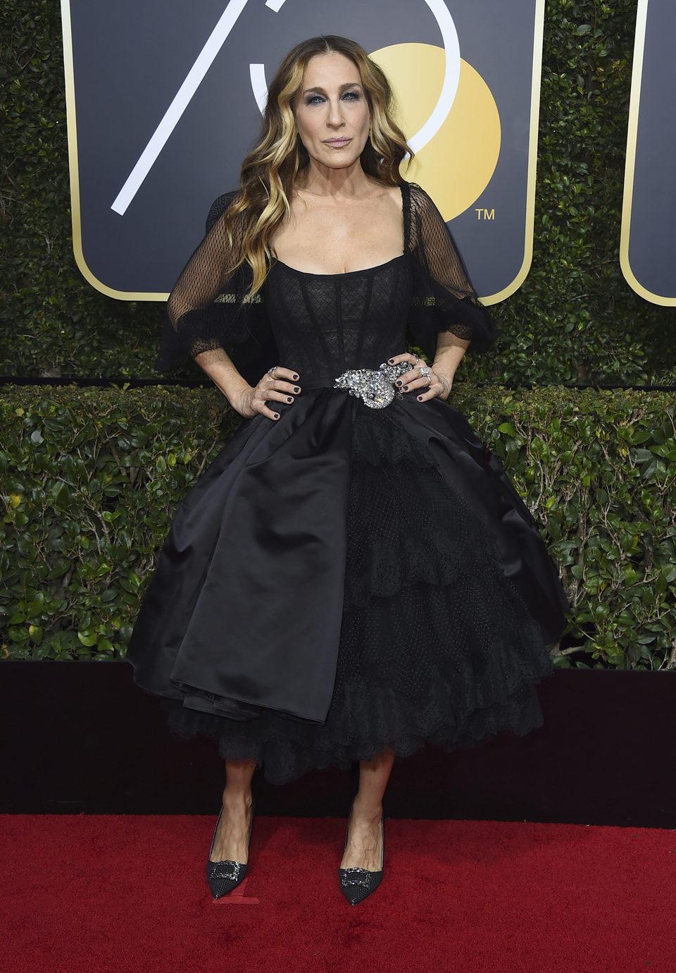 Sarah Jessica Parker en la alfombra roja de los Globos de Oro 2018