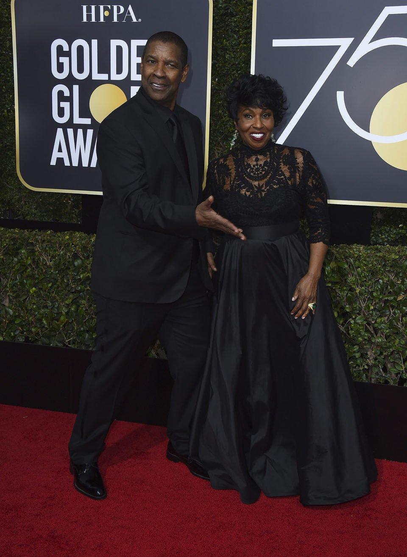 Denzel Washington y su mujer en la alfombra roja de los Globos de Oro 2018