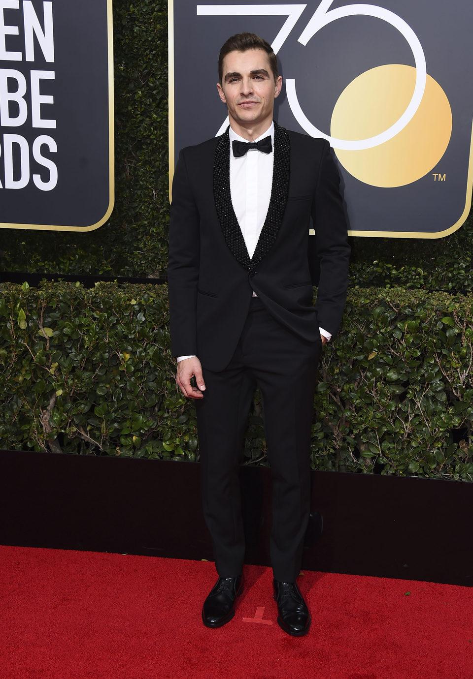 Dave Franco en la alfombra roja de los Globos de Oro 2018