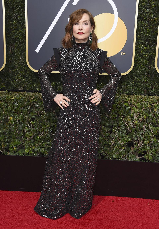Isabelle Huppert en la alfombra roja de los Globos de Oro 2018