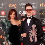 Macarena Gómez y Aldo Comas en la alfombra roja de los Goya 2018