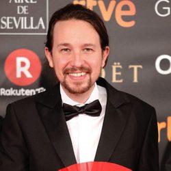 El líder de Podemos Pablo Iglesias en la alfombra roja de los Premios Goya 2018