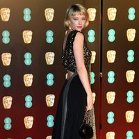 Haley Bennett at the BAFTAs 2018 red carpet