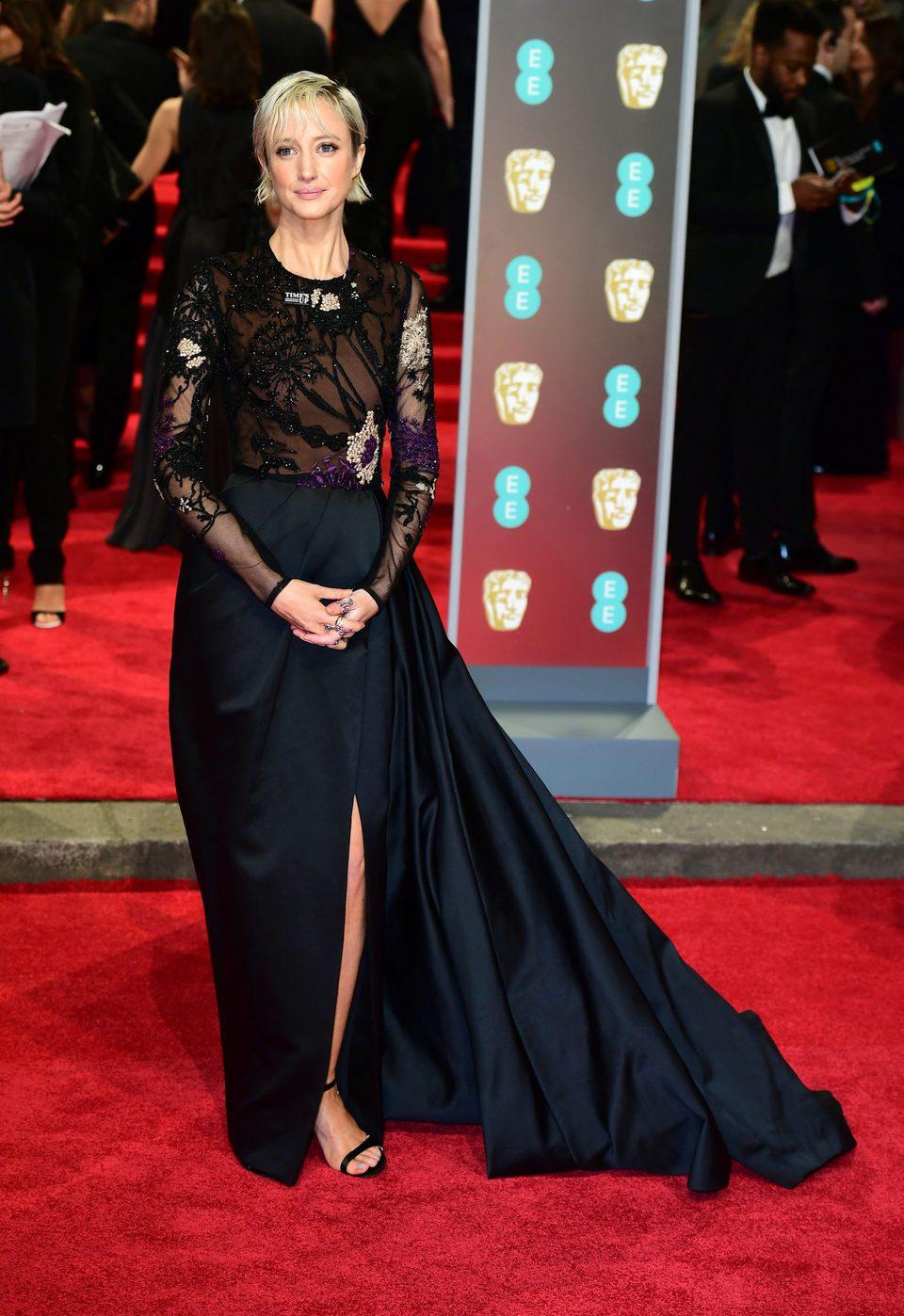 Andrea Risebourugh en la alfombra roja de los BAFTA 2018