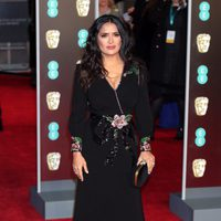 Salma Hayek at the BAFTAs 2018 red carpet