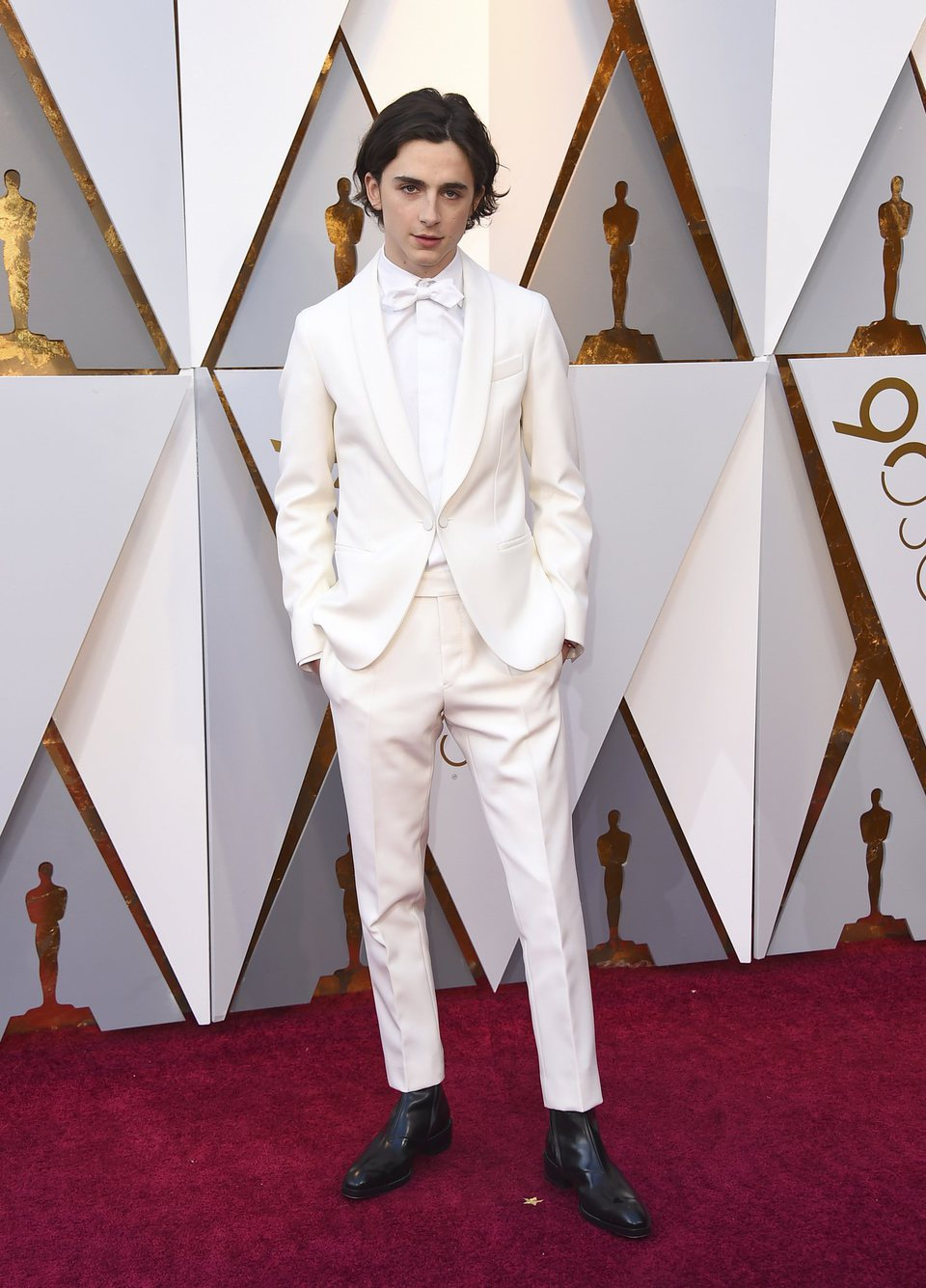 Timothée Chalamet en la alfombra roja de los Oscar 2018