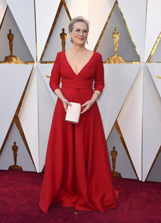 Meryl Streep en la alfombra roja de los Oscar 2018