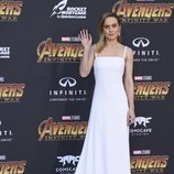 Brie Larson posa en la alfombra púrpura de la premiere mundial de 'Vengadores: Infinity War'
