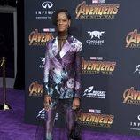 Letitia Wright en la alfombra púrpura de la premiere mundial de 'Vengadores: Infinity War'