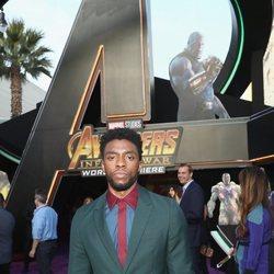 Chadwick Boseman posa en la alfombra púrpura de la premiere de 'Vengadores: Infinity War'