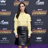 Jennifer Connelly poses on the purple carpet at the world premiere of 'Avengers: Infinity War'