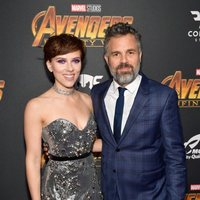 Scarlett Johansson & Mark Ruffalo pose on the purple carpet at the world premiere of 'Avengers: Infinity War'