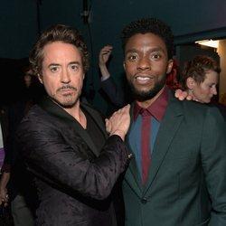 Robert Downey Jr. y Chadwick Boseman posan en la premiere de 'Vengadores: Infinity War'