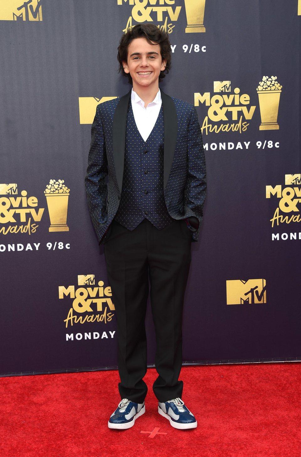 Jack Dylan Grazer en la alfombra roja de los MTV Movie & TV Awards 2018