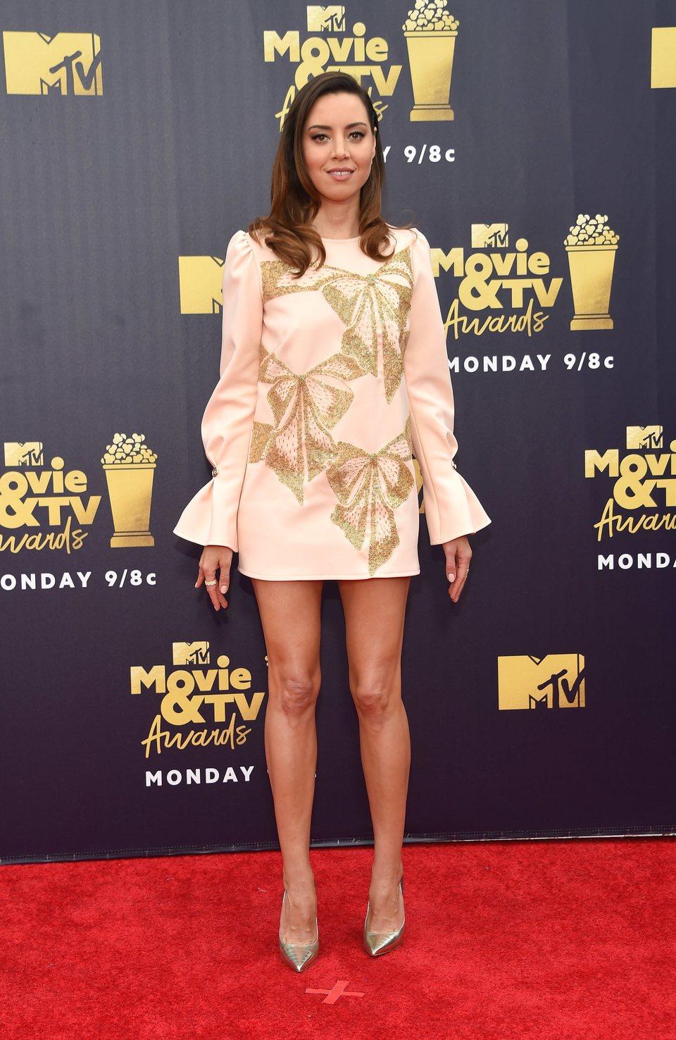 Aubrey Plaza en la alfombra roja de los MTV Movie & TV Awards 2018