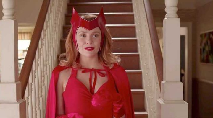 One particular shot of the 'WandaVision' trailer is generating buzz due to the combination of a 'Bewitched' reference with Scarlet Witch's iconic comic book outfit