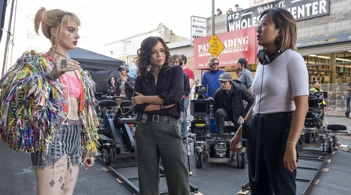 Cathy Yan directs Margot Robbie and Rosie Perez on the set of 'Birds of Prey'