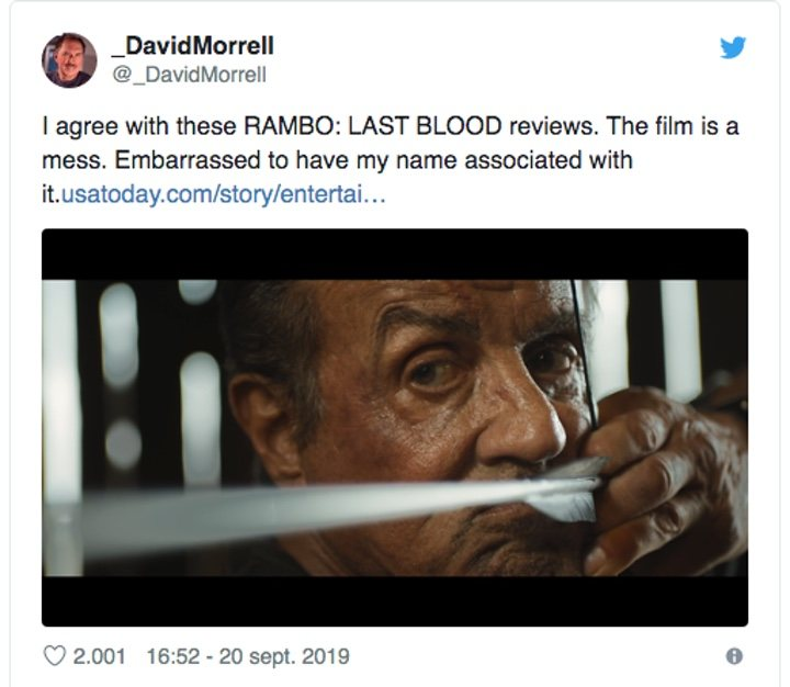 Even the creator of Rambo, David Morrell, hates the film