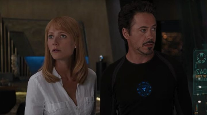 Gwyneth Paltrow and Robert Downey Jr. as Pepper Potts and Tony Stark.