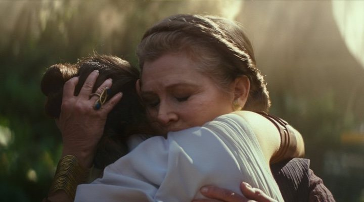 Rey and Leia share a touching embrace