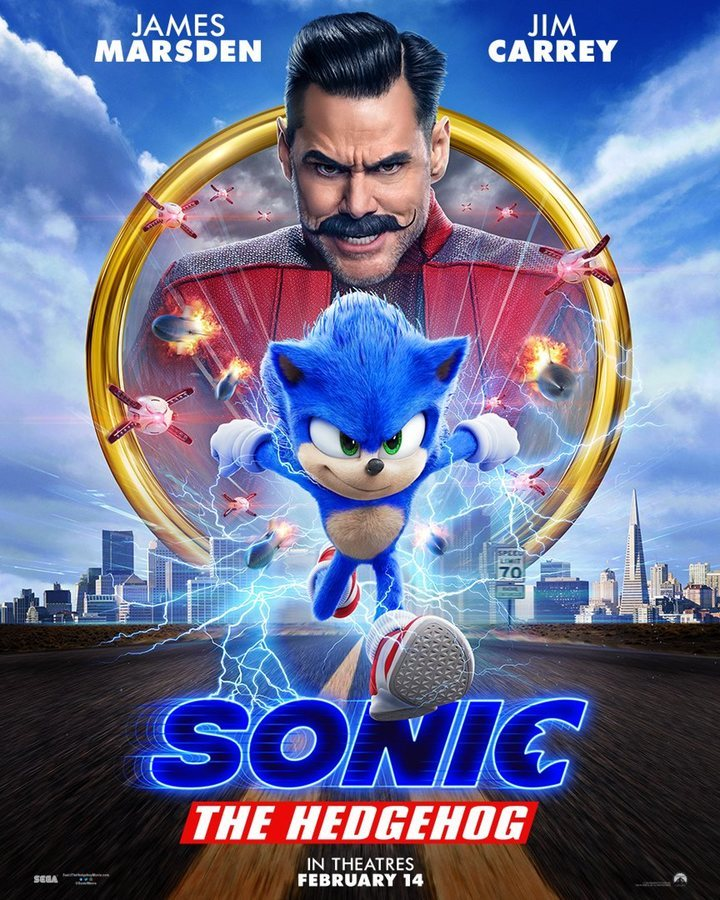 The new poster for 'Sonic: The Hedgehog', which features the redesign of Sonic