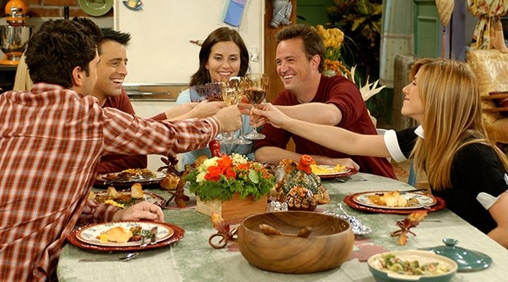 Holiday scenes in 'Friends' often stress the importance of an urban family to twentysomethings