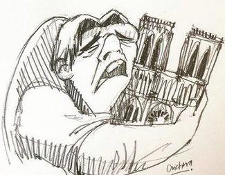 Quasimodo llora en los homenajes a Notre Dame