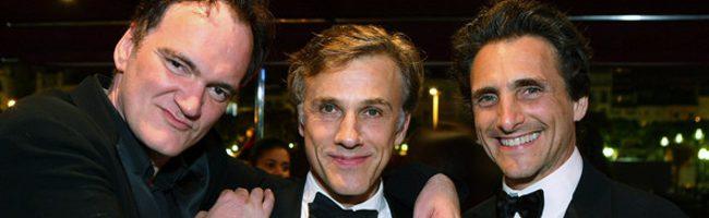 Christoph Waltz junto a Quentin Tarantino y el productor Lawrence Bender