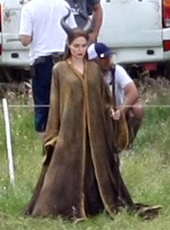 Angelina Jolie en el set de Maleficent