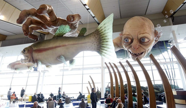 Estatua de Gollum en el aeropuerto de Wellington